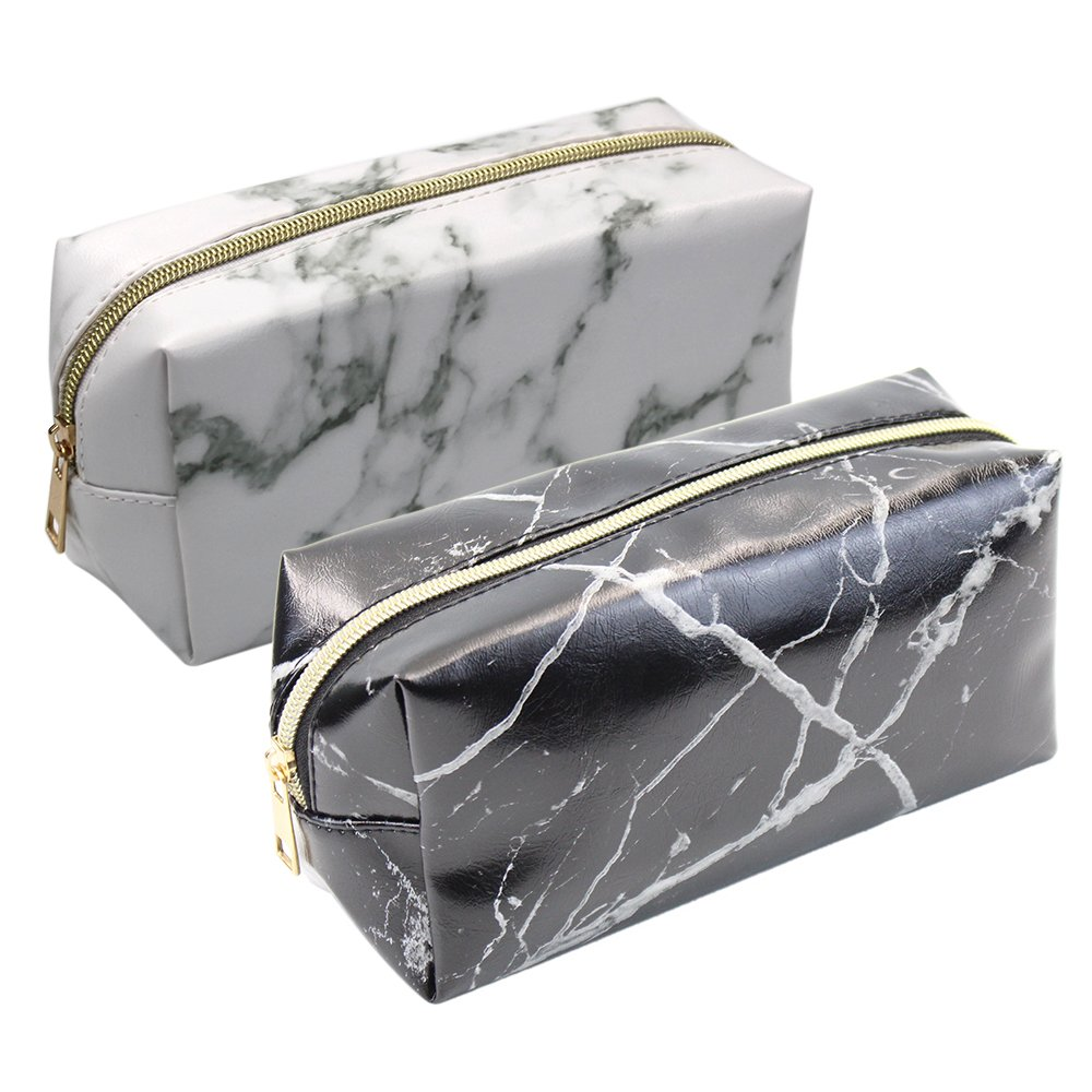 2 Pieces Cosmetic Toiletry Makeup Bag Pouch Gold Zipper Storage Bag Marble Pattern Portable Makeup Brushes Bag (White and Black) by Erlvery DaMain (Image #1)