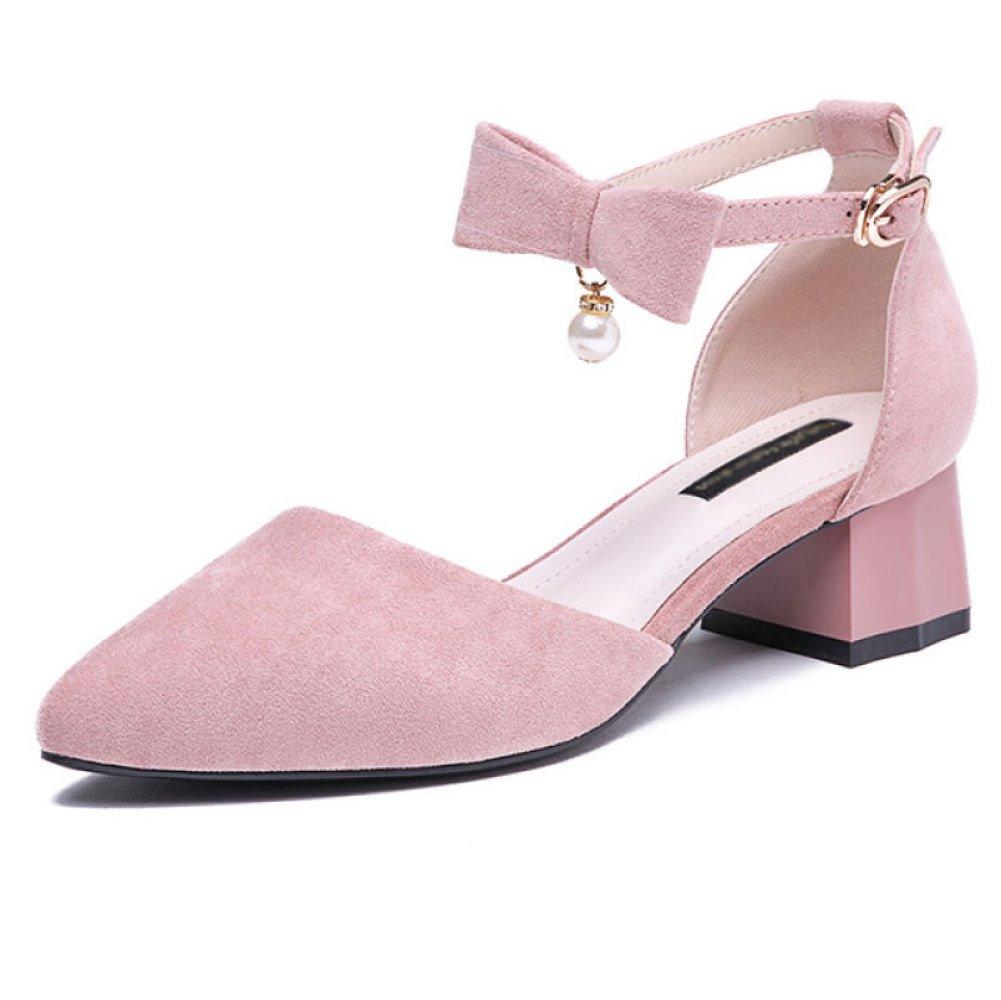 DKFJKI Damen Schnalle Sandalen Schleifen Ferse Ferse Studenten Spitz Mode Mary Jane Schuhe  38 EU|Pink