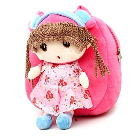 Niños Mochilas suave peluche con bonitas Doll juguete Forma de dibujos animados Mini Funda Guardería Infantil