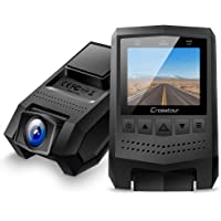 """Crosstour Dash Cam 1080P FHD Mini Dash Camera Recorder with 1.5"""" LCD Screen 170°Wide Angle, Paking Mode, Motion Detection, G-Sensor, Loop-Recording and WDR"""