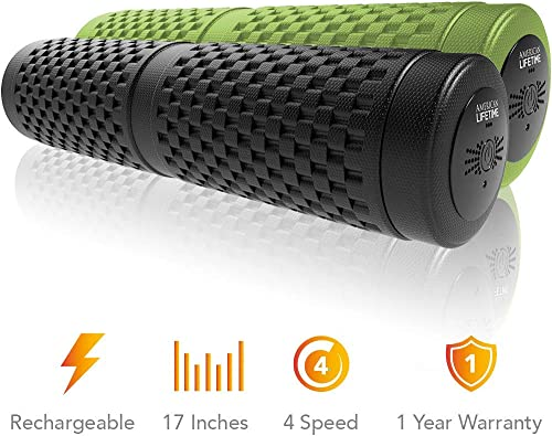 American Lifetime Vibrating Foam Roller – 17 Inch 4-Speed Rechargeable Electric High-Intensity Vibration, Deep Tissue Massager for Recovery, Pliability Training, Physical Therapy