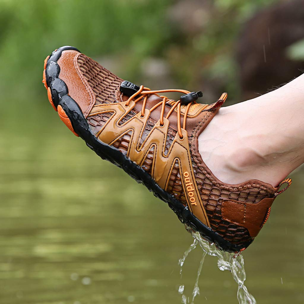 Mens Womens Casual Drawstring Water Shoes Quick Dry Barefoot for Swim Diving Surf Aqua Sports Pool Beach Walking Yoga (9, Brown) by PaJau-Men's Shoes (Image #8)