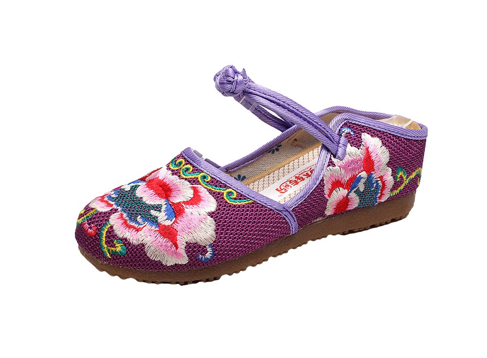 AvaCostume Womens Peonies Embroidery Frog Buckle Casual Flats Loafer Shoes, Purple 38