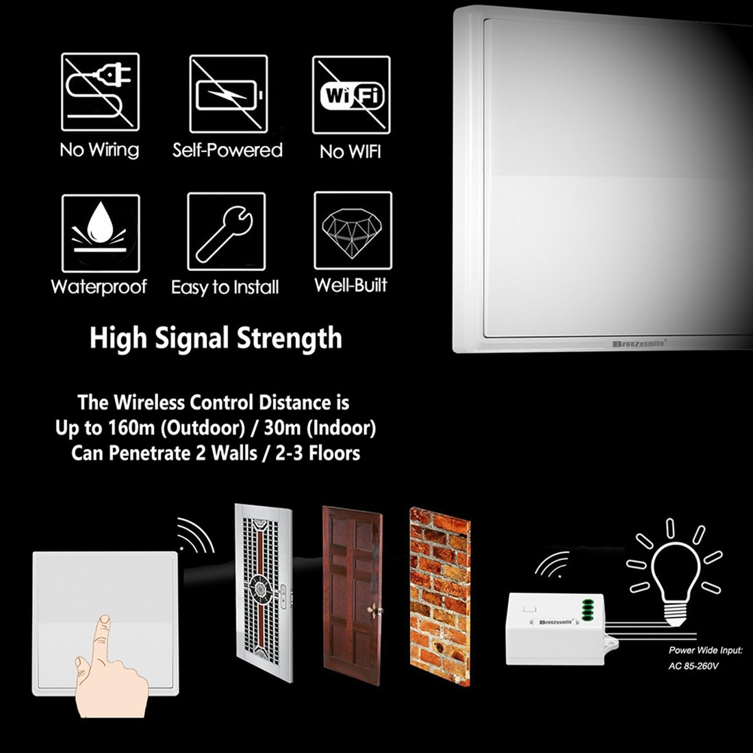 Breezesmile Wireless Light Switch Kit No Battery Wiring Quick A Rf Thermostat Create Or Relocate On Off For Lamp Fan Fixtures Self Powered Remote