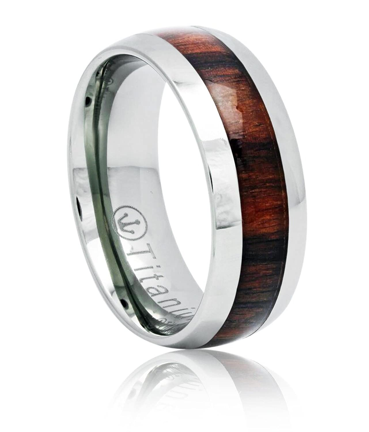 Crown Rings Titanium Wedding Bands Wood Ring 8 mm