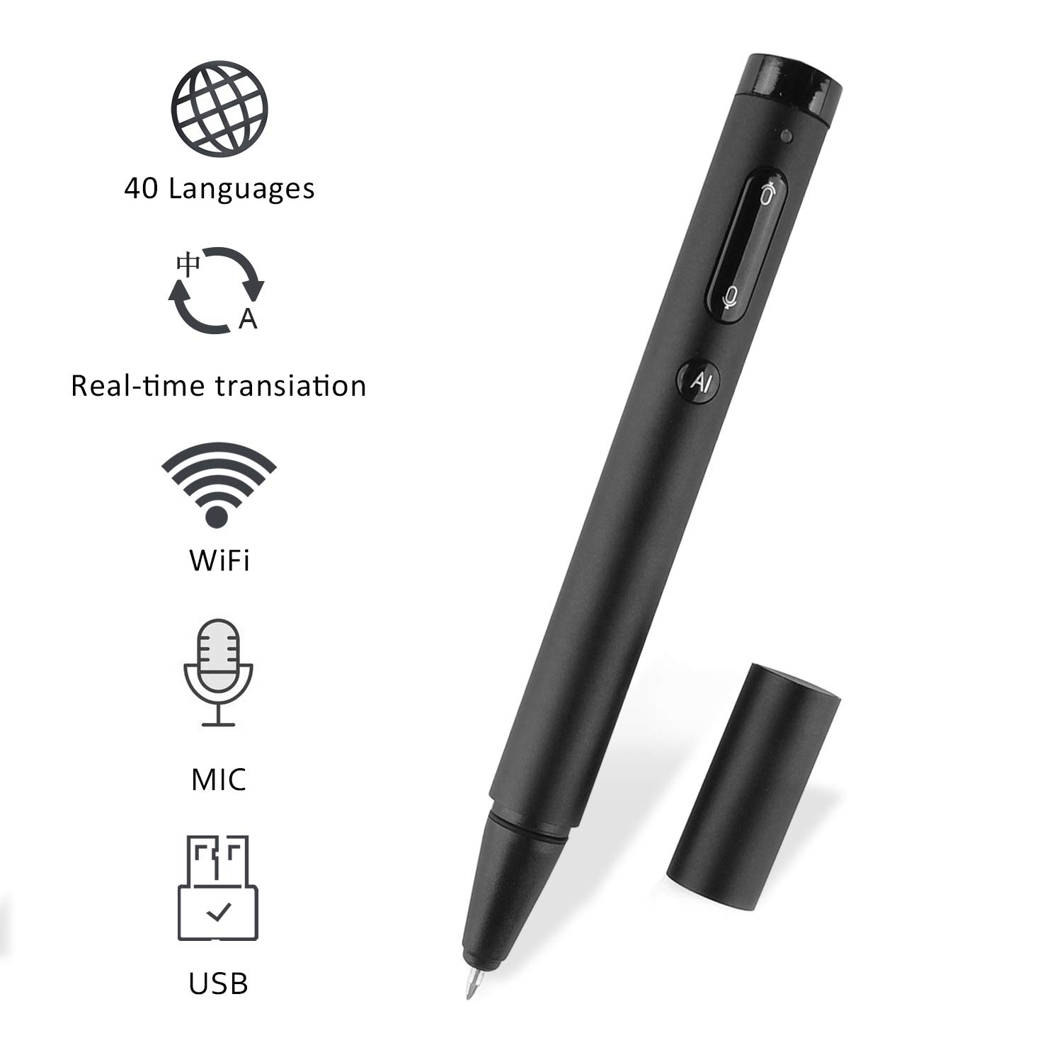 FOOING Protable Language Translator Device Smart Electronic Pocket Voice Two-Way Real Time Support All Languages Translation Handheld Interpreter for Travelling Business Learning