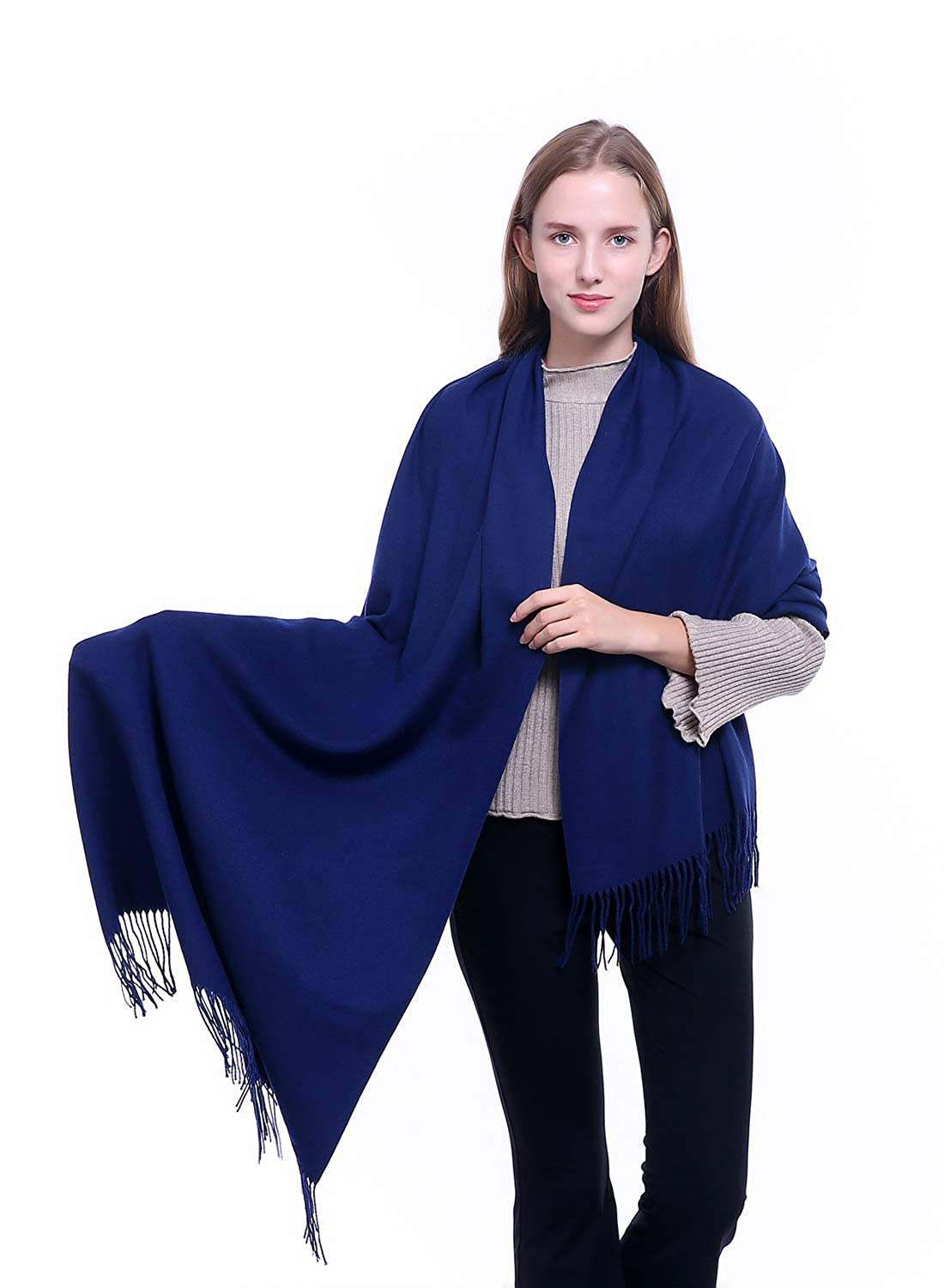 Navy Womens Large Cashmere Scarf Winter Soft Pashmina Shawls Wraps Warm Stole Blanket Mens Solid color Scarves