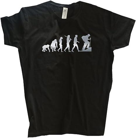 Shirtzshop Deluxe Edition Trekking Senderismo montañismo para Mujer Camiseta de evolución Druck Silber Talla:Medium: Amazon.es: Deportes y aire libre
