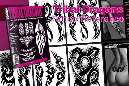 TRIBAL DRAGONS Tattoo Flash Design Book 64-Pages
