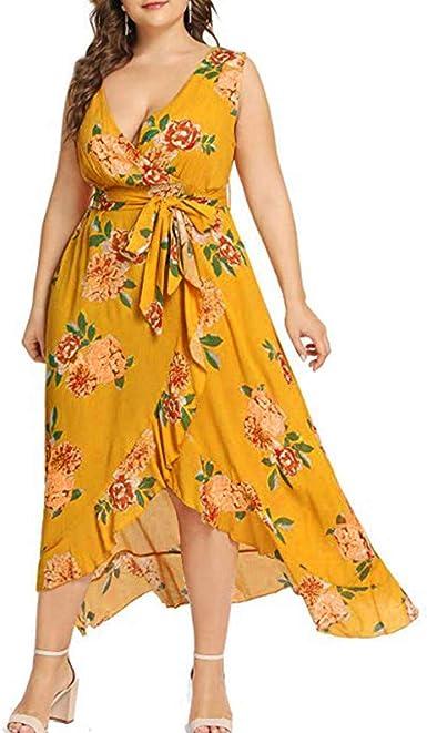 WENOVL Summer Dresses for Women, Women Plus Size Summer V ...