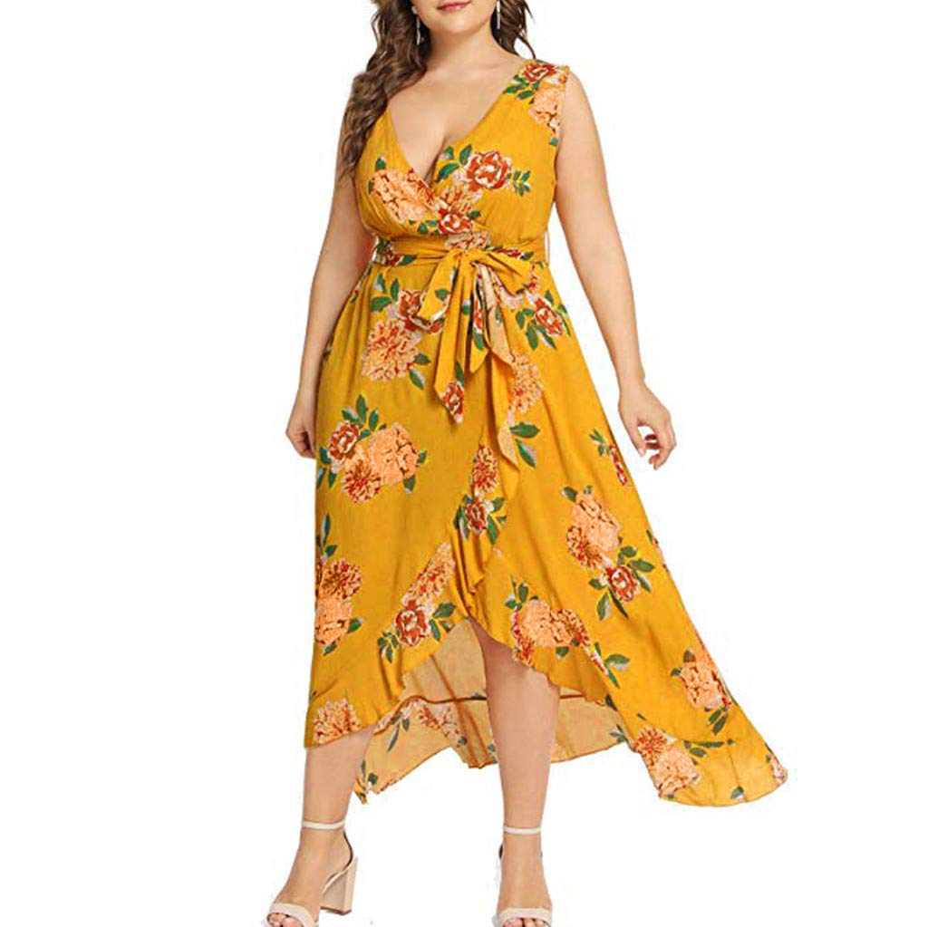 Women's V Neck Sleeveless Floral Print Dress Split Beach Casual Belted Ruffle Cocktail Dress Yellow
