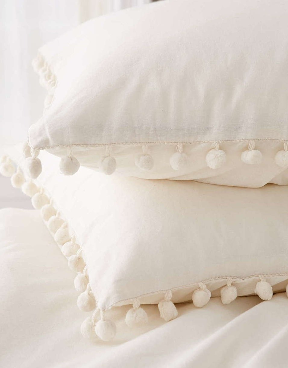 Pom Fringe Sham Set Cotton Pillow Covers,18.9in x29.2in,Set of 2 by Flber