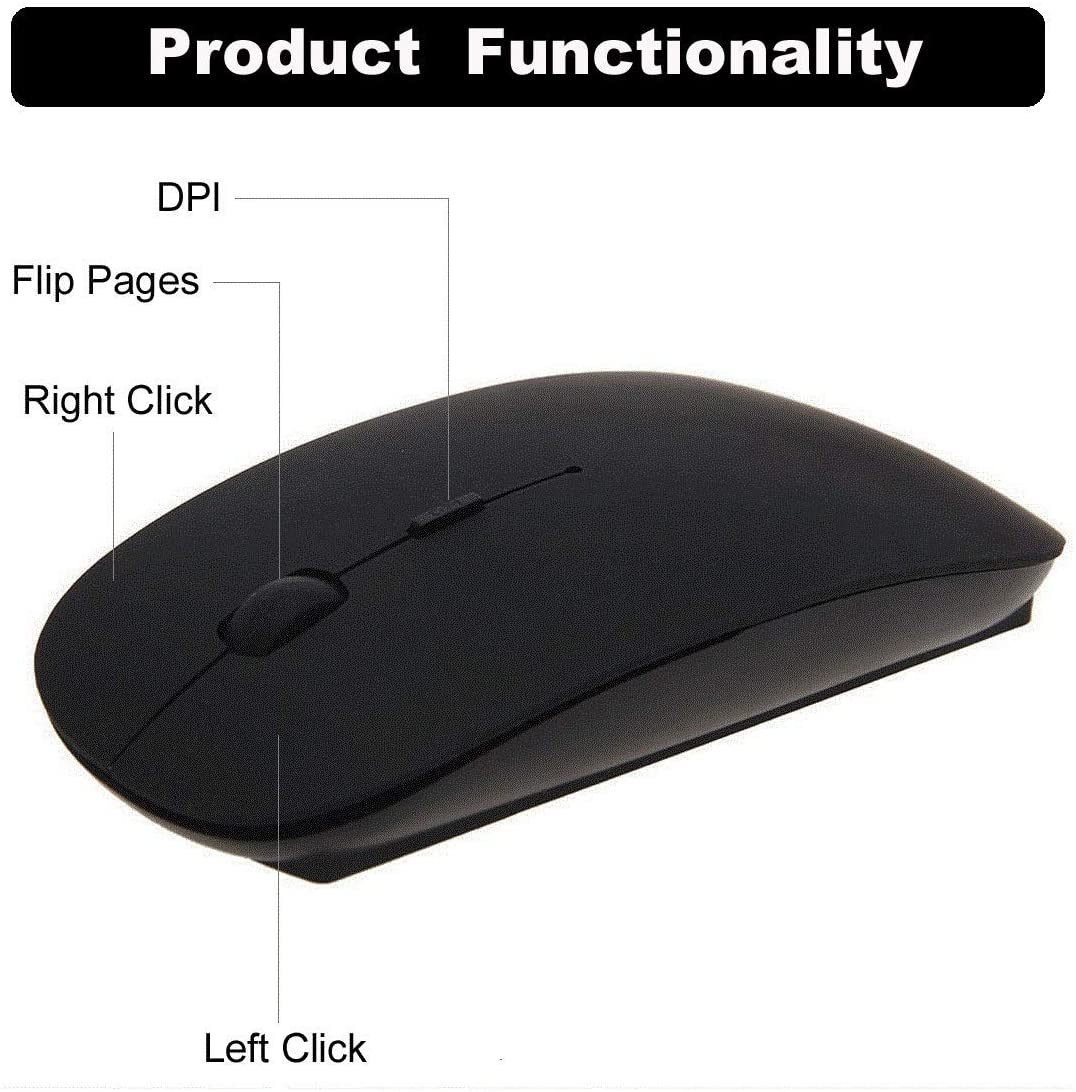 Black Wireless Mouse 2.4G USB Wireless Mice Optical PC Laptop Computer Cordless Mouse with Nano Receiver for Gaming Windows Computer PC Laptop MacBook iMac MacBook Pro Android Tablet Travel Mouse