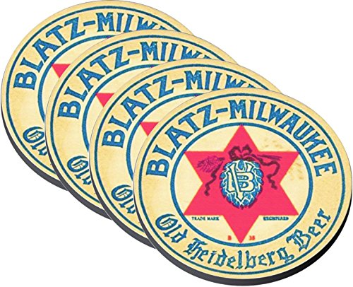 Reproductions of 1930s Vintage Blatz Brewing Co. Milwaukee WI Old Heidelberg Beer Coasters on Cloth/Rubber Backing Set of 4