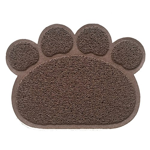 chic Leijing 30x40cm Candy Color PVC Dog Paw Shape Cup Pet Dog Puppy Cat Feeding Mat Pad Bed Dish Bowl Food Water Feed Placemat Dog Supplies Rose red one size