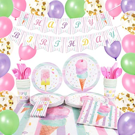 Ice Cream and Popsicle Party Tableware for Girls Birthday Baby Shower Disposable Tablecloth Plates Cups Napkins Cutlery Bag Utensils Serves 16 Guests 130PCS WERNNSAI Ice Cream Party Supplies Set