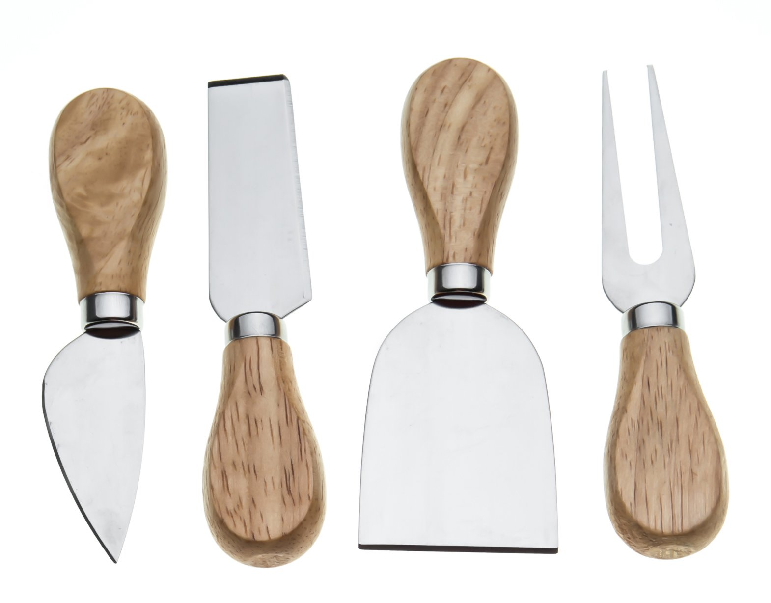 Bekith 4 Pcs Travel Cheese Knives Set, Cheese Knife, Shaver, Fork and Spreader, Wooden Handle