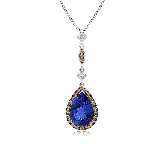 Angara Pear Drop Tanzanite and Brown Diamond Necklace in Rose Gold LNI1zbhKAi