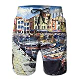 Mens Ancient Watertown Oil Painting Art Swim Trunks Elastic Waist Quick Dry Board Shorts
