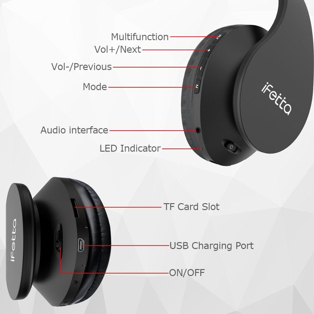 Ifecco - Auriculares de diadema, Bluetooth 4.1, inalámbricos, con almohadillas, deportivos, estéreo, compatibles con todos los ...