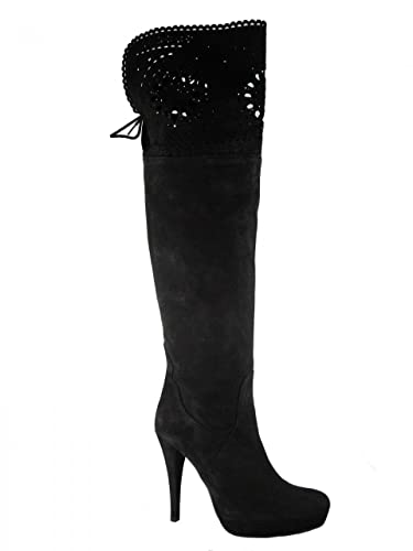 9cf9c22c0fe Albano Women s Davinci Italian Dressy Leather Black Suede Over The Knee  Boots by Designer Size 39