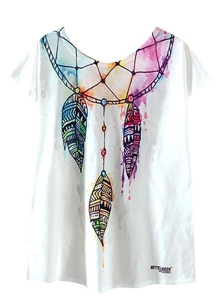 Azbro Mujer Camiseta Suelta Estampado Atrapasueño Mangas Cortas ... b32f5409b62