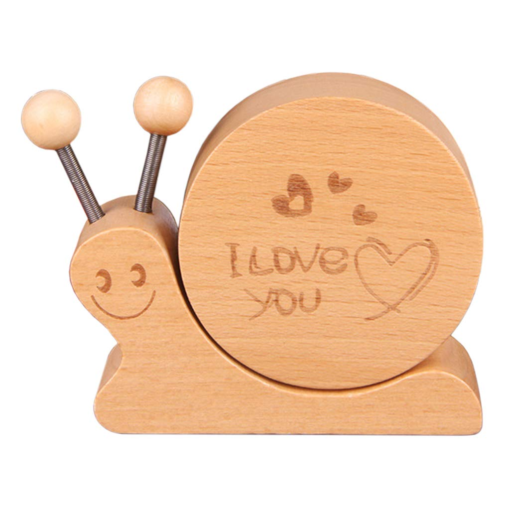 Amperer Wood Music Box Cute Snail Design Wooden Musical Box Separated Structure Plays Castle in The Sky Song Best Gift for Birthday Christmas (9# Snail)