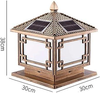 GXWLWXMS LED de la lámpara solar Columna Pilar, Vidrio linterna al ...