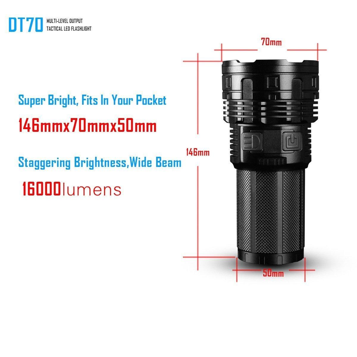 DSKE LED Linterna 16000 LM 700 Metros USB Interfaz de Carga LED ...