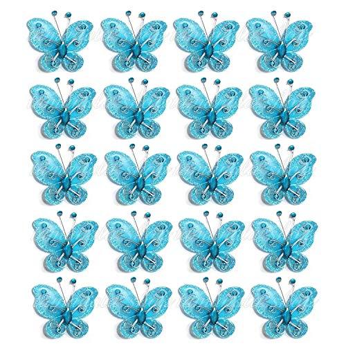 40-Pack Blue Organza Butterflies 2