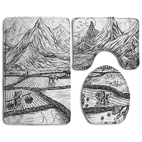 Hexu Black And White Panoramic Picture Af A Mountain Range In Death Valley National Park, Abstract Natural Background, USA Bathroom Rug 3 Piece Bath Mat Set Contour Rug And Lid - Range Price Versace