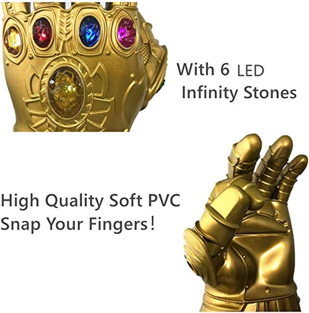 Infinity Gauntlet,Thanos Glove Superhero Avengers LED Light-Up Gems PVC Glove for Men Halloween Cosplay Masquerade Costume Prop Movie Clothing Accessories