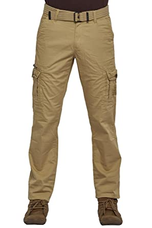 d49587a6e80b Beevee 100% Cotton Lycra Solid Khaki Fixed Waist Cargo With Belt Casuals  available at Amazon