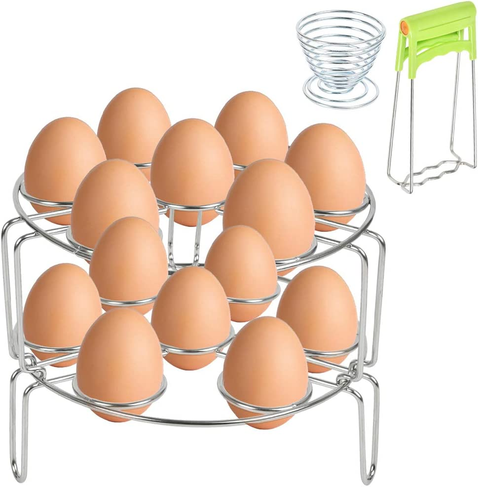 [ Upgraded ] 2 Pack Stackable Egg Steamer Rack, Heavy Duty Stainless Steel Trivet Basket Stand with Steamer Plate Gripper, Stackable Pot stand rack and Dish Plate Clip for Pressure Cooker Accessories