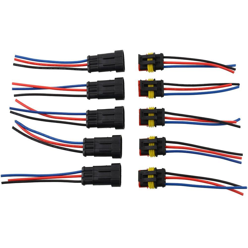 Sedeta Nero 5 Kit 3 pin auto auto impermeabile Adattatore per connettori elettrici W / Wire AWG Marine