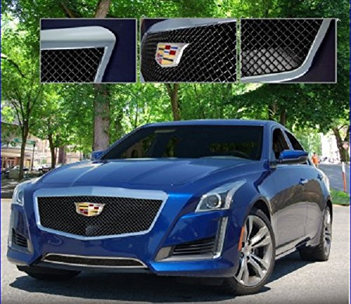 E&G CLASSICS CADILLAC CTS 2014 2015 BLACK ICE HEAVY MESH GRILLE UPPER ONLY 1007-B10U-15H ()