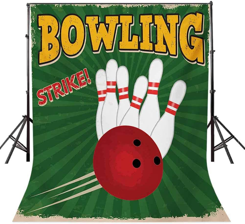 Vintage 8x10 FT Backdrop Photographers,Bowling Balls and Pins Design Western Sport Hobby Leisure Winner Artsy Art Print Background for Baby Shower Bridal Wedding Studio Photography Pictures Multicolo