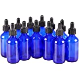 12 Pack,2oz 2 oz,Blue Glass Bottle Bottles with Black cap and Glass Droppers.Using for Essential Oils,Lab Chemicals,Colognes,Perfumes & Other Liquids.FREE 12 Chalk Labels