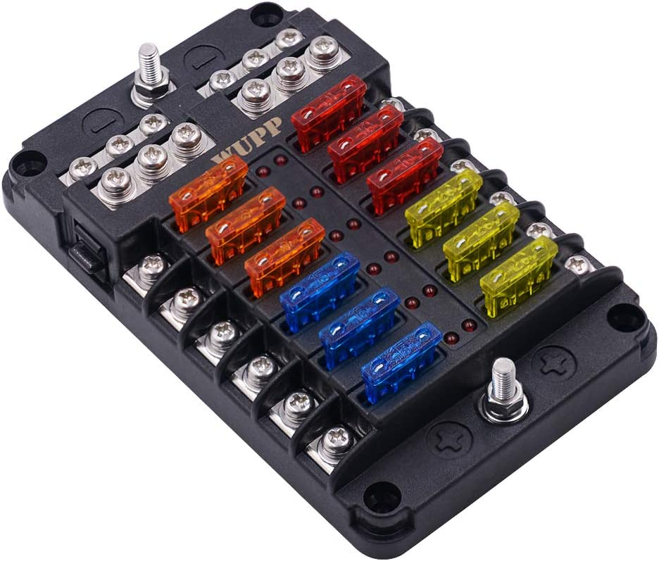 Amazon.com: WUPP Boat Fuse Block, Waterproof Fuse Panel with LED Warning  Indicator Damp-Proof Cover - 12 Circuits with Negative Bus Fuse Box Holder  for Car Marine RV Truck DC 12-24V, Fuses Included:Amazon.com