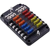 wupp st blade fuse block with led warning indicator damp-proof cover - 12  circuits