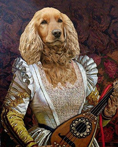 Medieval GOLDEN RETRIEVER Cocker spaniel MANDOLIN player Renaissance musician puppy dog lady altered portrait anthro art (Retriever Dog Portrait)