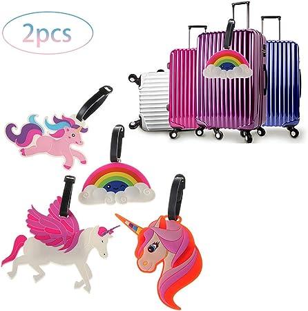 Couleur al/éatoire Rocita 2pc Unicorn ID Etiquettes de Bagages Sac Voyage Tag /étiquettes Valise Bagages pour Les Enfants