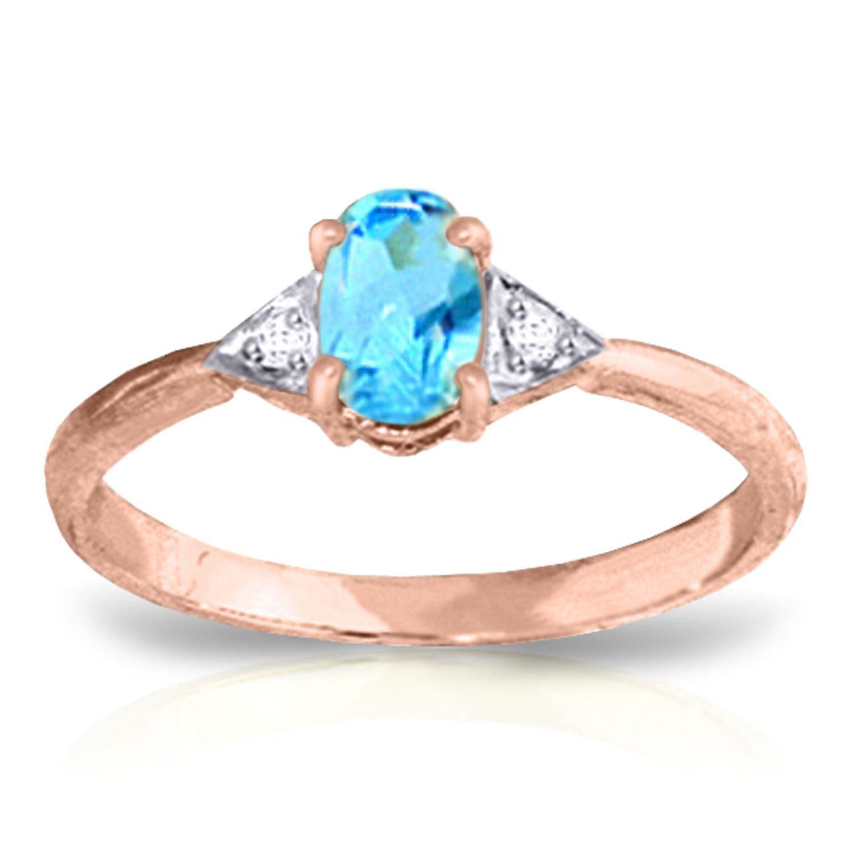 ALARRI 0.46 Carat 14K Solid Rose Gold Oval Blue Topaz Diamond Ring