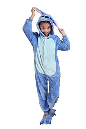 8c65a56d71 Auspicious beginning Blue Stitch Kids Pajamas Animal Cosplay Costume Onesie  Sleepsuit Homewear Kigurumi Pajamas