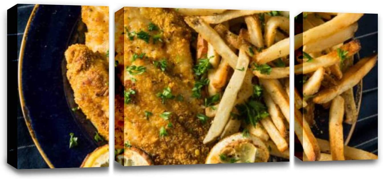 CCArtist Spicy Homemade Baked Cajun Catfish Seafood Dishes Stock Pictures, Wall Decor Print on Canvas Modern Artwork Living Room Bedroom Painting Art Wall