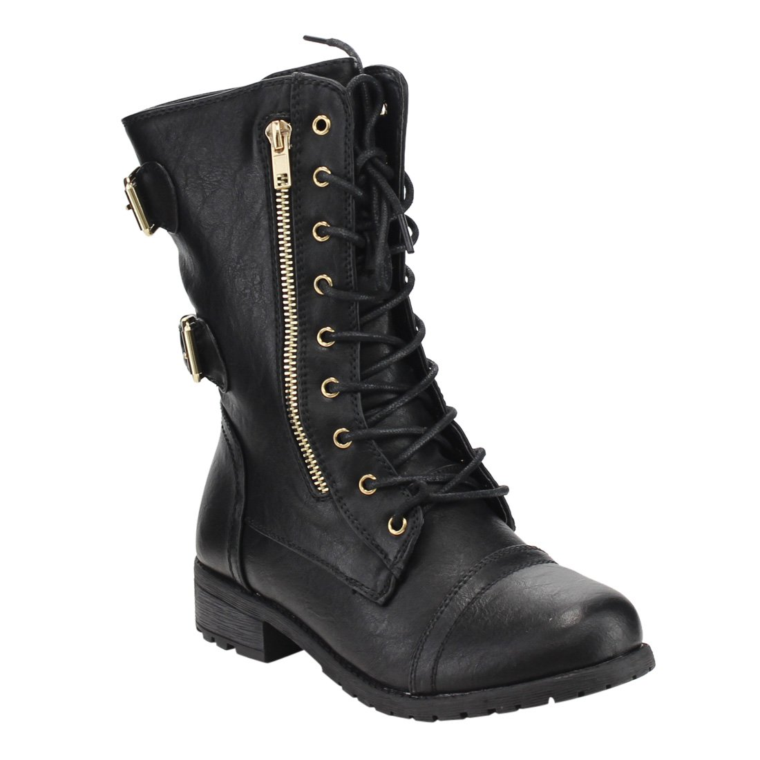 Forever Women's Mango-71 Faux Leather Military Style Ankle Boots Thick Sole Buckles,Black,10