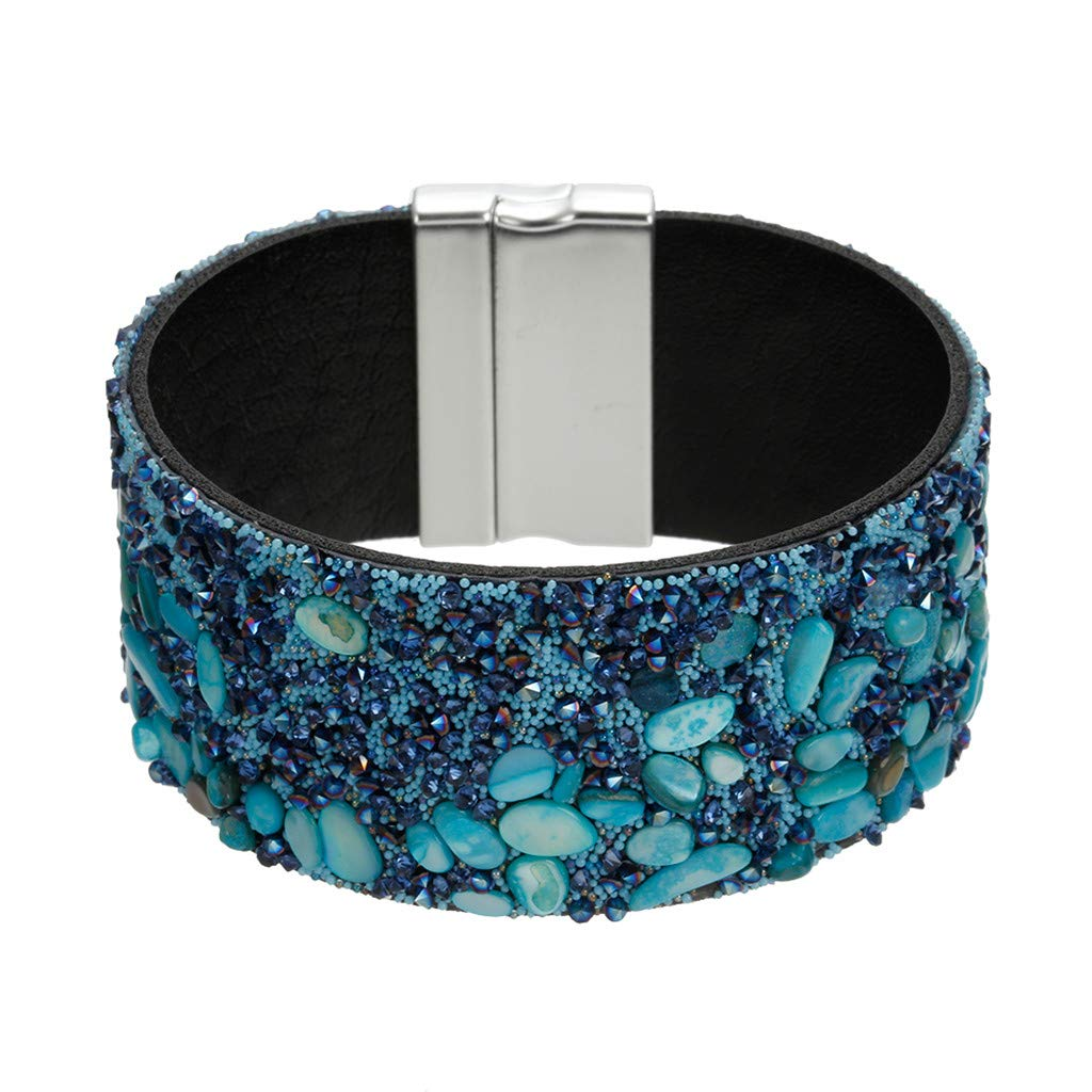 Tantisy ♣↭♣ Diamond Beads Bracelet ☘ Women's Fashion Hundred Matching Gravel Diamond Bracelet Creative Ladies Jewelry Light Blue