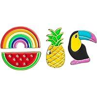 KESYOO 4pcs Enamel Brooch Pin Set Rainbow Pineapple Watermelon Toucan Animal Cartoon Brooches Lapel Pins Badge Hawaiian…