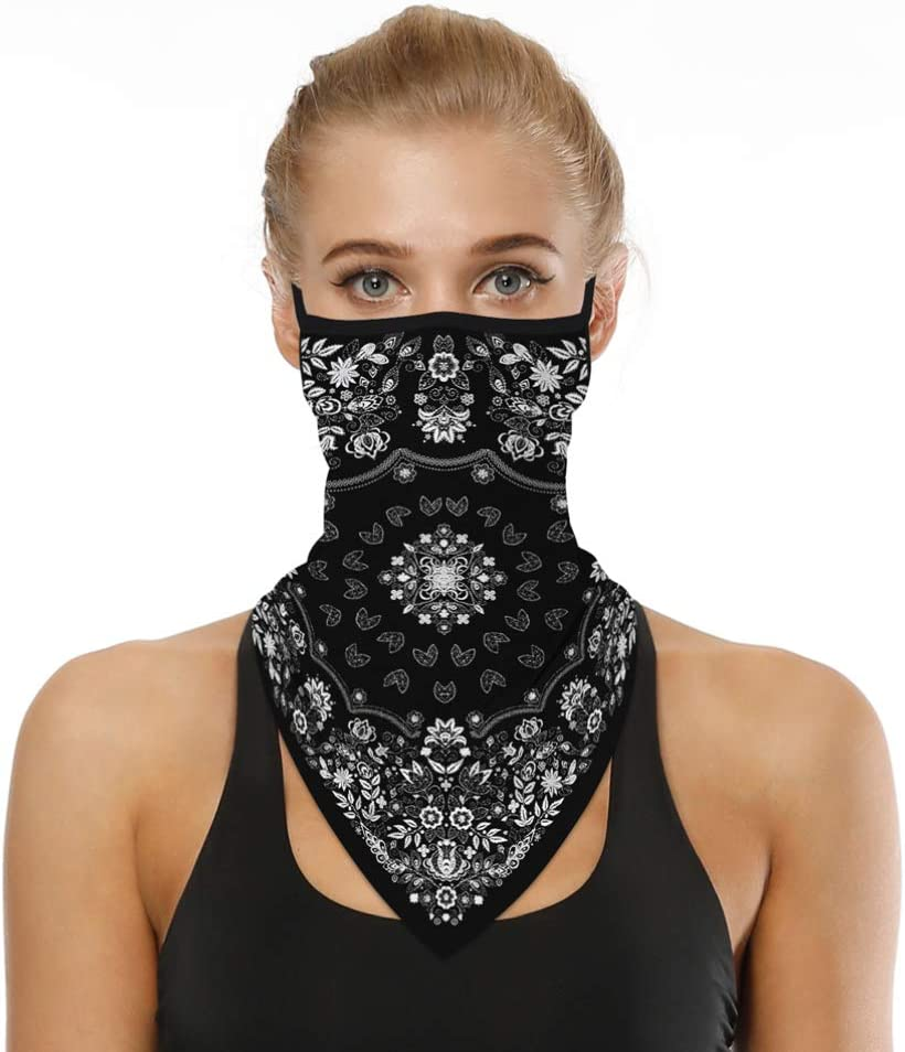 TOYANDONA Face Scarf Bandana Face Balaclava Neck Gaiters Ear Loop Face Cover Shield for Dust Wind Motorcycle
