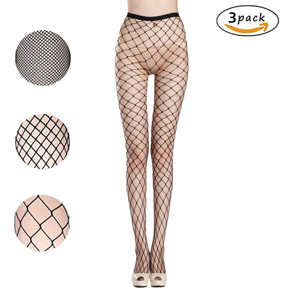 62fb24781d5 Amazon.com  Fishnet Stockings Sexy Net Pantyhose Womens Mesh Tights (Pack  of 3) (Black)  Clothing